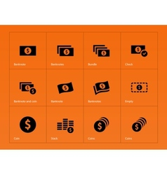 Dollar banknote icons on orange background vector