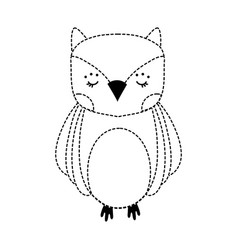 dotted shape cute owl wild animal of the forest vector image