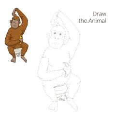 Draw the animal orangutan educational game vector