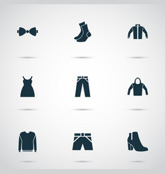 dress icons set with bow tie hoodie pullover and vector image
