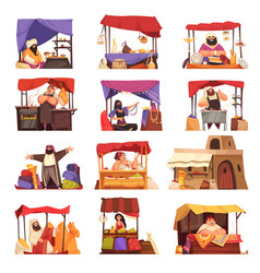 Eastern market cartoon icons set vector