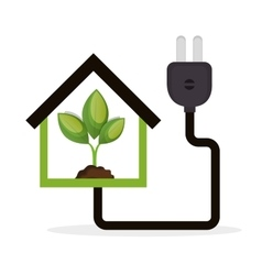 Eco energy concept house plant vector