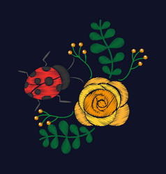 embroidery flower and ladybug ornament for the vector image