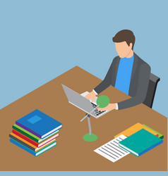 faceless male person working with laptop at table vector image