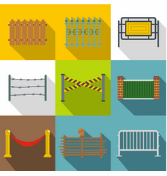 Fencing modules icon set flat style vector