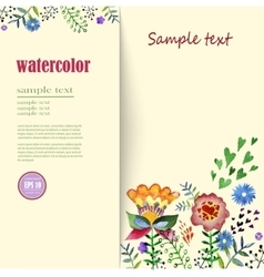 Flower arrangements watercolor Greeting card with vector
