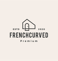 French curve niche door hipster vintage logo icon vector
