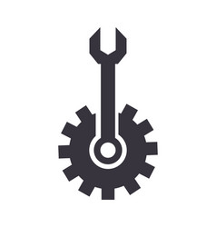 gear and wrench tool support vector image