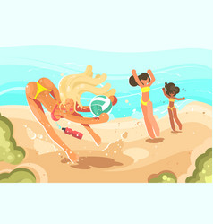 girls playing volleyball on sand beach vector image
