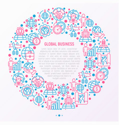 global business concept in circle vector image