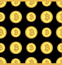 Golden coins with bitcoin sign seamless pattern vector