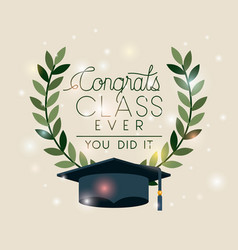 graduation card with hat and crown vector image