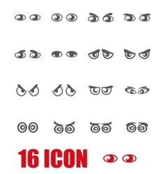 Grey cartoon eyes icon set vector