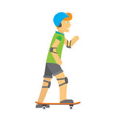 Guy in helmet elbow and knee pads skateboarding vector