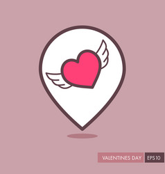heart with wings pin map icon vector image