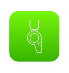 hockey whistle icon green vector image
