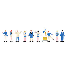 hotel staff characters in blue uniform set vector image