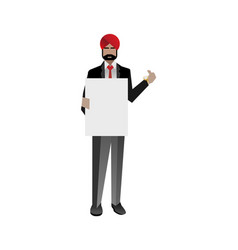 Indian businessman holding blank whiteboard vector