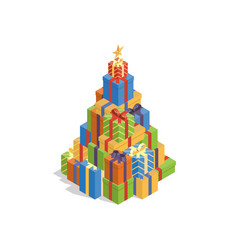 isometric gift box christmas tree vector image