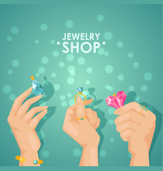 Jewelry shop poster hands vector