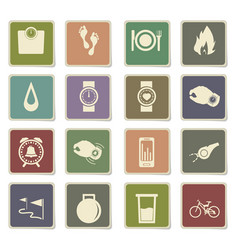 Jogging icon set vector