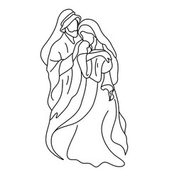 joseph and mary holding bajesus vector image