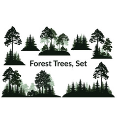 Landscapes trees silhouettes vector
