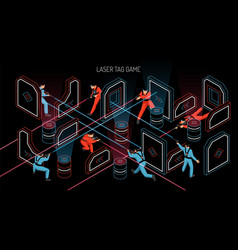 Laser tag isometric banner vector