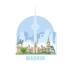 madrid city skyline spain one most vector image