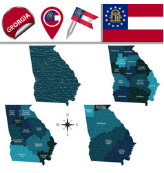Map georgia with regions vector
