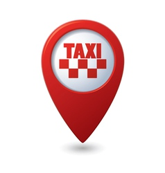 Map pointer with taxi icon vector image