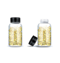 medicine bottles with clear yellow capsules vector image