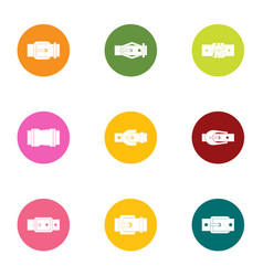 Metal buckle icons set flat style vector
