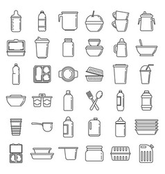 Modern plastic tableware icons set outline style vector