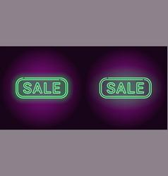 neon banner of green sale badge vector image