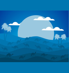 night desert landscape caravan of camels vector image