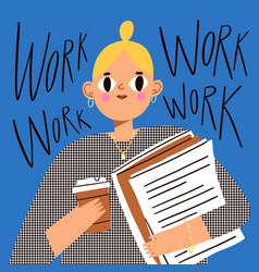office girl worker with documents and coffee vector image