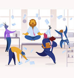 Office workers with animals heads clipart vector