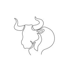 one single line drawing elegance buffalo vector image