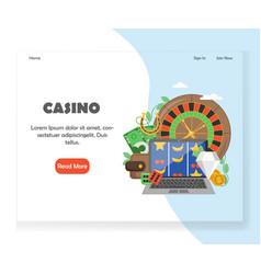 online casino website landing page design vector image