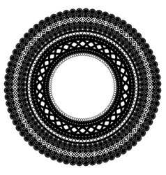 Openwork frame isolated black lace ornament vector