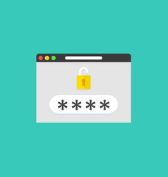password field with open lock in browser window vector image
