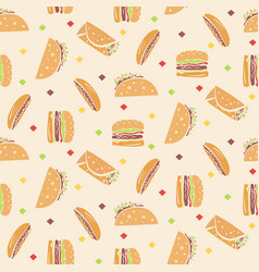 pattern with tasty fast food in orange colors vector image