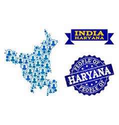 People composition of mosaic map of haryana state vector