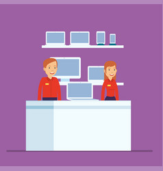 phone store sales are ready to work at computer vector image