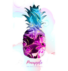 pineapple silhouette with alcohol ink texture vector image