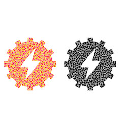 Pixel electric energy gear mosaic icons vector