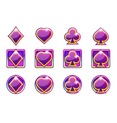 Poker symbols of playing cards in purple vector