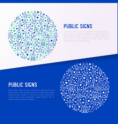 Public signs concept in circle thin line icons vector