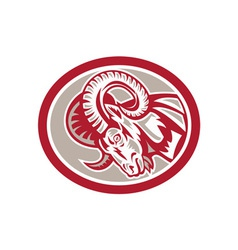 Ram Goat Head Side Circle Retro vector